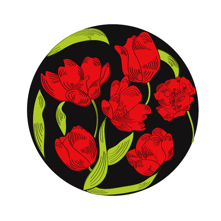 Vector illustration of circle made with flowers  Vector