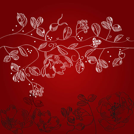 Claret background with white flowers Vector