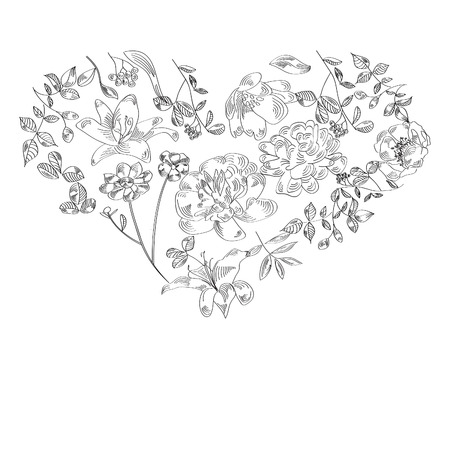 romantically:  Vector illustration of hart made with flowers on the white back Illustration
