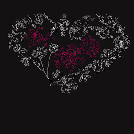 Black background with heart Vector