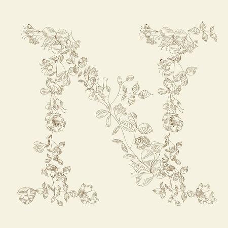 Floral font. Letter N Vektorové ilustrace