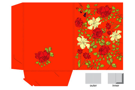 Decorative folder with floral pattern Stock Vector - 6080197