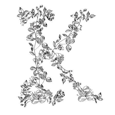 Floral font. Letter K  Vector