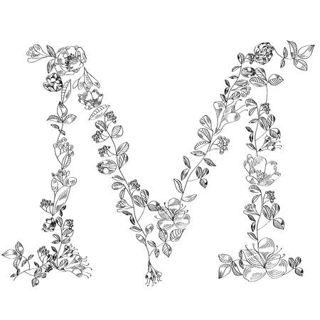 m: Floral font. Letter M Illustration