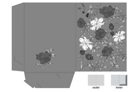 Decorative folder with floral pattern (black and white)  Vector