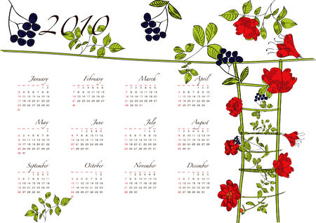 Decorative floral calendar with ladder and watering can Stock Vector - 6100662