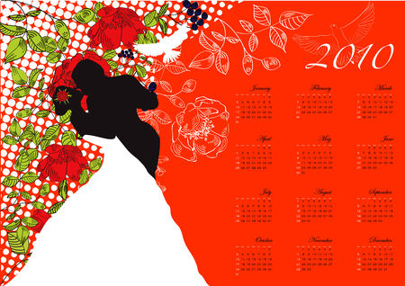 bridal couple: Calendar for 2010 with bridal couple.