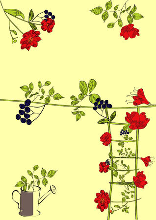 Decorative floral background with ladder and watering can  Stock Vector - 6100666