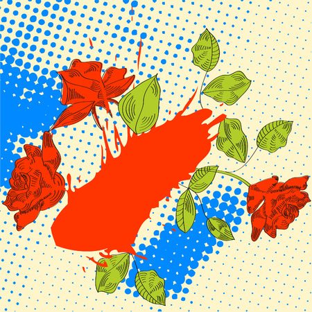 Ink drawn illustration with roses  Vector