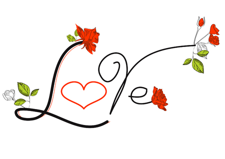 The word LOVE written on white with roses and heart Stock Vector - 6142384