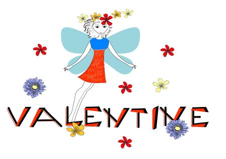 Greeting card with beautiful princess  Vector