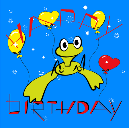 Birthday card with frog  Vector