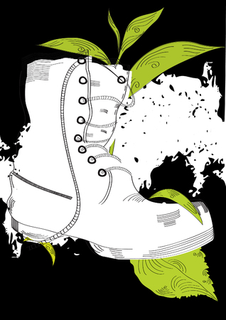Grunge background with boot and grass  Vector