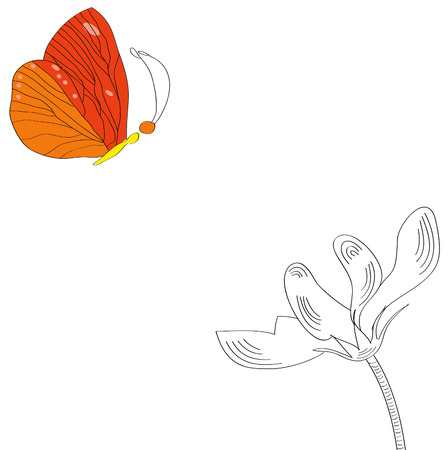 Butterfly and flower Vector