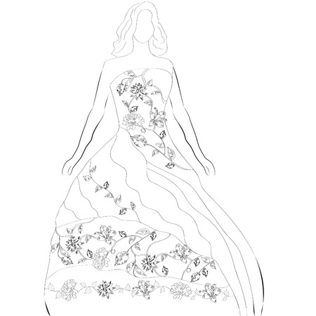 Black and white sketch with bride  Vector