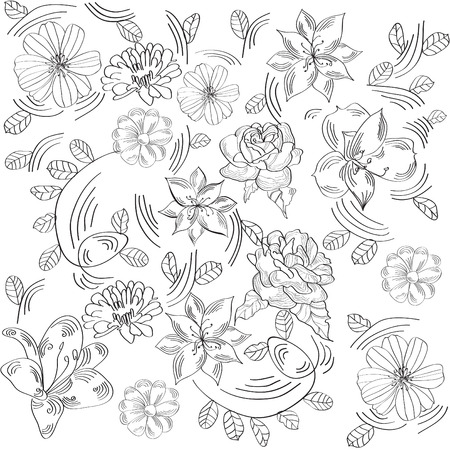 Black and white decorative background with flowers Vector