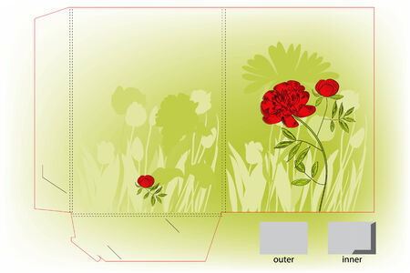 Gift folder with peony flowers Vector