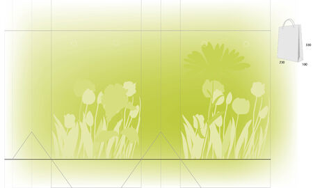 Template for gift bag on light green backgrounds with flowers silhouettes Vector