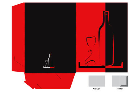Bottle and glass on black and red backround Vector