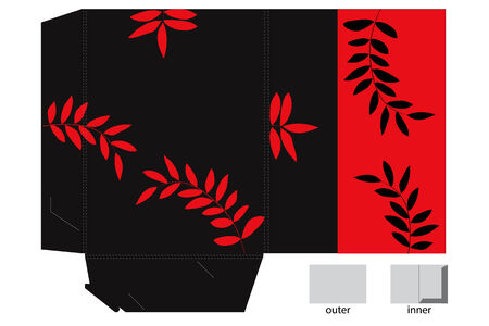 Red and black colorful folder with leaves Vector