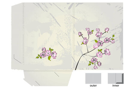 Template for folder with apple tree flowers Vector