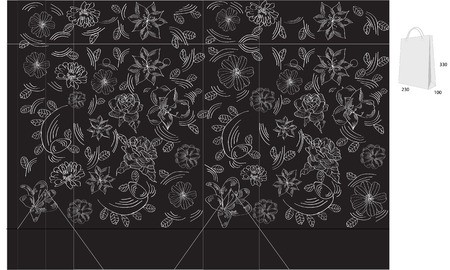 Template for gift bag on black background with flowers silhouettes Vector