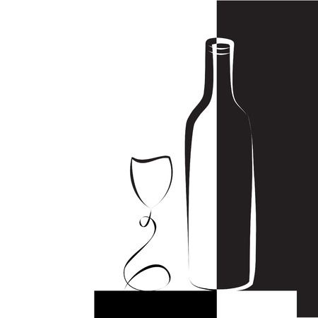 Wine glass and bottle for wine, black and white illustration.