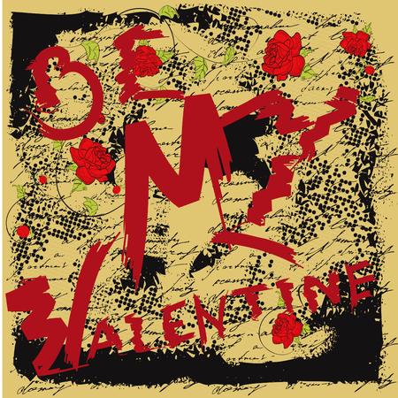 Be my Valentine. Grunge card Vector