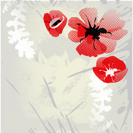 Grey grunge background with poppy flowers Stock Vector - 6289270