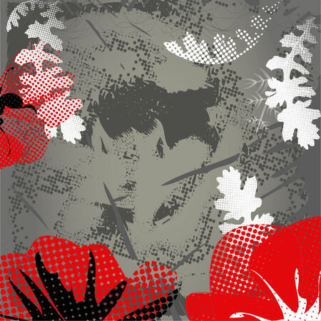 Grey grunge background with red poppy Vector