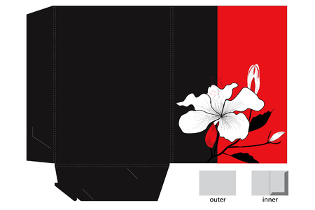 Folder with die cut and decorative lily Vector