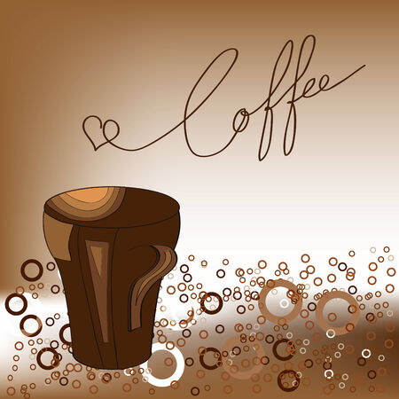 Brown background with a cup of coffee Vector