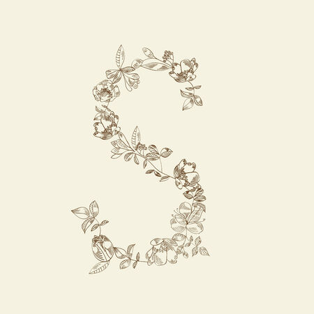 Floral font. Letter S Stock Vector - 6289297