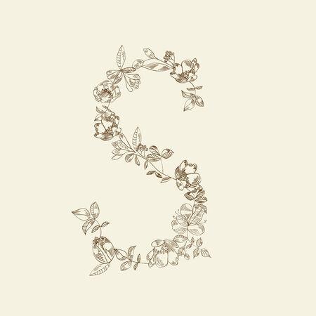 Floral font. Letter S Stock Vector - 6289297