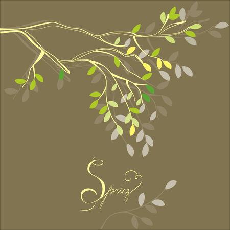 rama: Fondo estilizado con la rama de primavera
