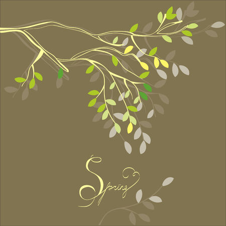 asian trees: Stylized background with spring branch