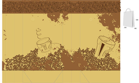 Template for bag with coffee beans Vector