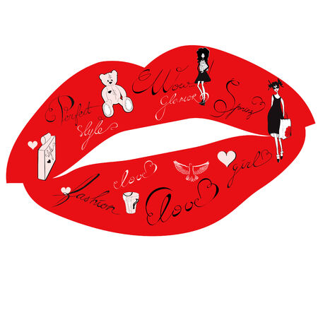 Lips with fashion ornament Stock Vector - 6322519