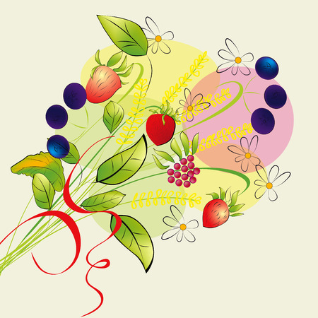 Colorful illustration with forest flowers Vector