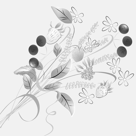 Monochrome illustration with forest flowers Vector