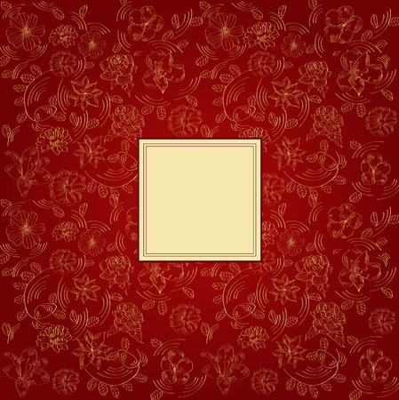 Claret background with decorative flowers Vector