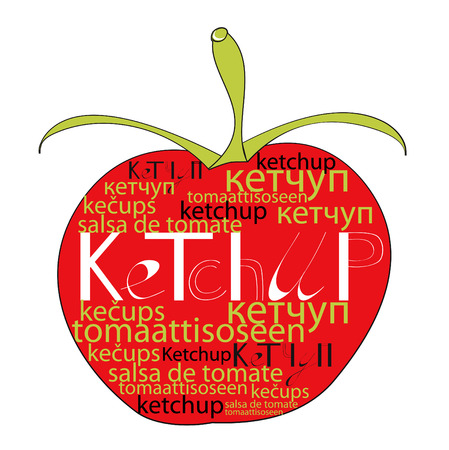 Red tomato with word ketchup Vector