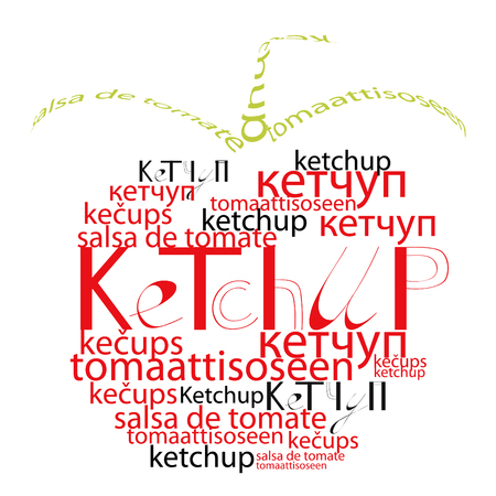 Decorative tomato with word ketchup Vector