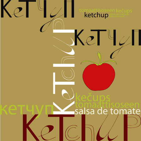 Stylized background with word ketchup Vector