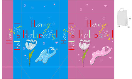 Gift bag with inscription Happy holidays Vector