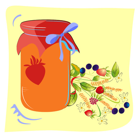 Colorful jam glass with forest flowers Vector