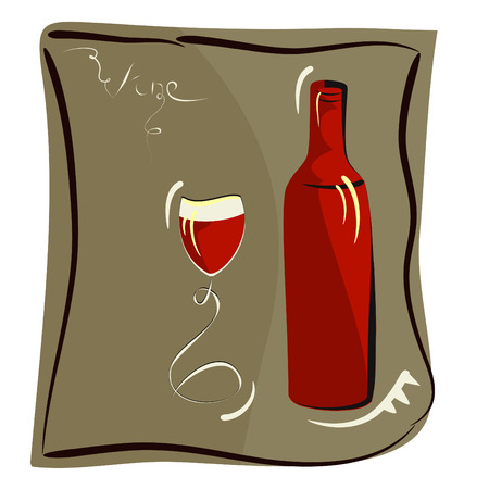 Wine glass and bottle for wine Vector