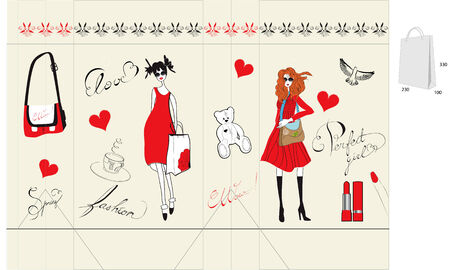 Shopping bag with fashion illustration Vector