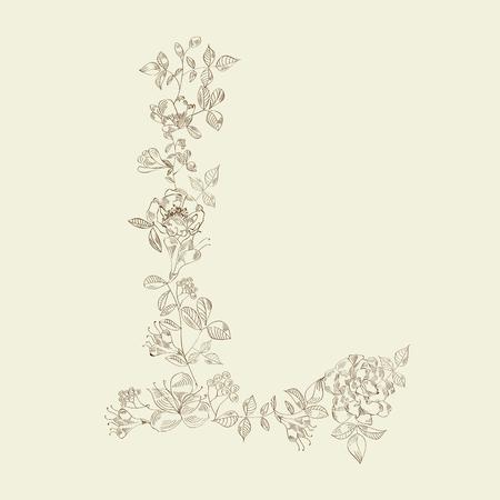 Floral font. Letter L Vector