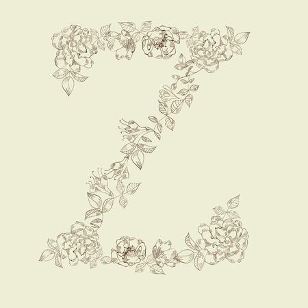 Floral font. Letter Z Vector